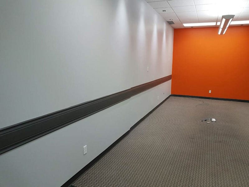 Recently painted narrow interior of an office space - alternative angle