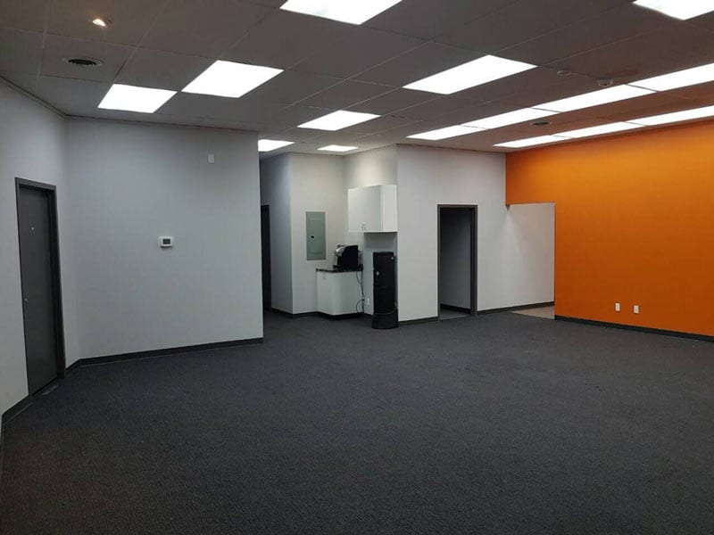 Recently painted interior of an office space in carpeted area