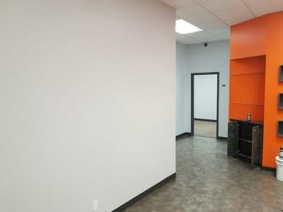Recently painted interior of an office - View of door