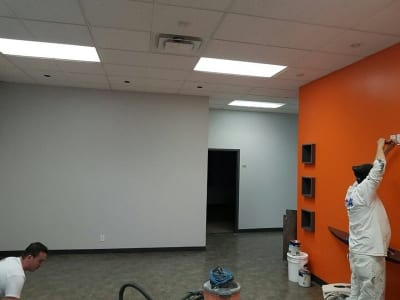 Recently painted interior of an office - Workers Preparing Reveal