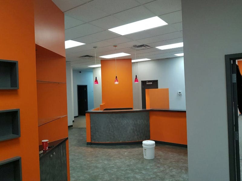 Recently painted interior of an office