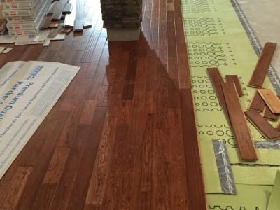 New hardwood flooring installation