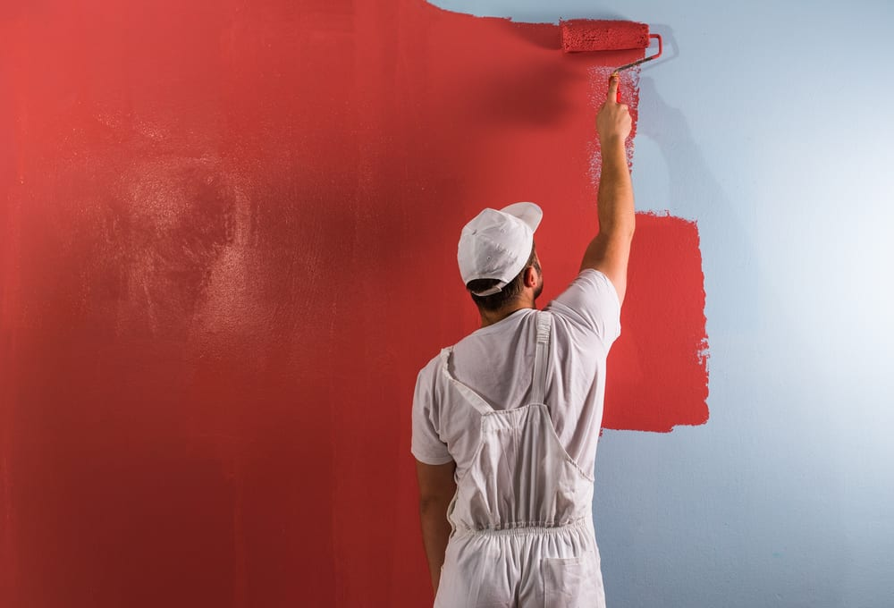 Professional painter painting home